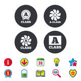 Premium level award icons. A-class ventilation. A-class award icon. A-class ventilation sign. Premium level symbols. Calendar, Information and Download signs Royalty Free Stock Photography