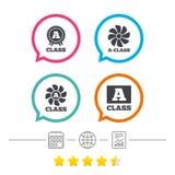 Premium level award icons. A-class ventilation. A-class award icon. A-class ventilation sign. Premium level symbols. Calendar, internet globe and report linear Royalty Free Stock Image