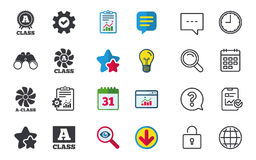 Premium level award icons. A-class ventilation. A-class award icon. A-class ventilation sign. Premium level symbols. Chat, Report and Calendar signs. Stars Stock Images