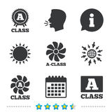 Premium level award icons. A-class ventilation. A-class award icon. A-class ventilation sign. Premium level symbols. Information, go to web and calendar icons Royalty Free Stock Photo