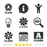 Premium level award icons. A-class ventilation. A-class award icon. A-class ventilation sign. Premium level symbols. Information, light bulb and calendar icons Stock Image
