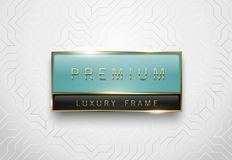 Premium light green and black glass label with golden frame on white geometric background. Luxury glossy logo template. Vector Royalty Free Stock Photo