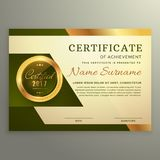 Premium luxury certificate of achievement in golden style. Vector Stock Photography