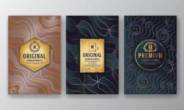 Premium Luxury Packaging Design With Heraldic Emblem Label vector illustration