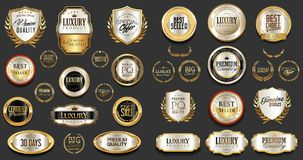 Premium and luxury silver and black retro badges and labels collection. Design Stock Photos