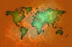 Premium Map of the world over orange background of stars.