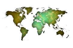 Premium Map of the world over yellowish galasy