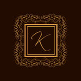 Premium monogram with English Alphabet K. Royalty Free Stock Photos
