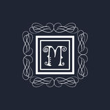 Premium monogram with English Alphabet M. Royalty Free Stock Photo