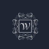 Premium monogram with English Alphabet W. Royalty Free Stock Images