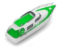 Premium motorized pleasure green boat Stock Images