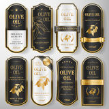 Premium olive oil labels set Royalty Free Stock Images