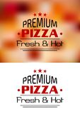 Premium Pizza Fresh and Hot poster design Royalty Free Stock Photography