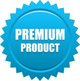 Premium product seal stamp blue. Vector illustration isolated on white background - premium product seal stamp blue Royalty Free Stock Photo