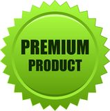 Premium product seal stamp green. Vector illustration isolated on white background - premium product seal stamp green Royalty Free Stock Photo