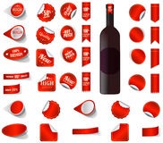 Premium product sticker tags red and blank sticker tags. Royalty Free Stock Images