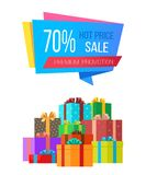 Premium Promotion 70 Sale Hot Price Special Box. Premium promotion 70 sale hot price special exclusive offer sale poster with piles of gift boxes wrapped in Royalty Free Stock Photo