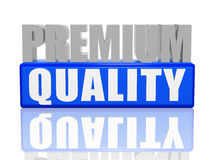 Premium quality. 3d letters with blue box royalty free stock images