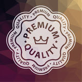 Premium quality on abstract triangle background. Illustration Stock Photos