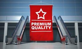 Premium quality advertising flag and escalator Royalty Free Stock Photos