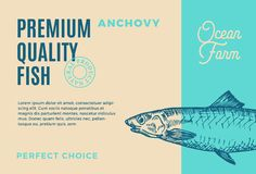 Premium Quality Anchovy. Abstract Vector Fish Packaging Design or Label. Modern Typography and Hand Drawn Anchovy. Silhouette Background Layout Stock Photography
