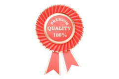 Premium quality 100% award, prize, medal or badge with ribbons. 3D rendering isolated on white background Stock Photography