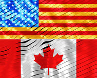 Premium america and canada flags background designs Stock Images
