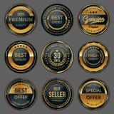 Premium quality badge labels set. On grey background royalty free illustration