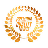 Premium Quality badge product. Golden laurel wreath, Vector illustration.  Royalty Free Stock Images