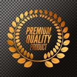 Premium Quality badge product. Golden laurel wreath, Vector illustration on transparent.  Stock Photo