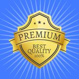 Premium Quality Best Golden Label 100 Guarantee. Sticker award, vector illustration certificate embleml with stars isolated on blue background with rays stock illustration