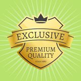 Premium Quality Best Golden Label 100 Guarantee. Premium quality best golden label guarantee since 1980 sticker award, vector illustration certificate emblem Stock Photo