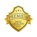 100 Premium Quality Choice Golden Label Isolated. 100 premium best quality choice golden label isolated on white background vector. Gold stamp certificate of Stock Photo