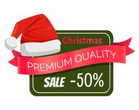 Premium Quality Christmas Sale 50 Discount Hat. Premium quality Christmas sale 50 discount promo label Santa Claus hat, square on background, ribbon with text Royalty Free Stock Photos
