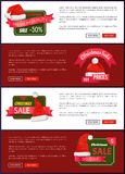 Premium Quality Christmas Sale Web Banners Buttons. Premium quality Christmas sale web banners with push buttons, Santa Claus hat and discount labels vector Royalty Free Stock Photos