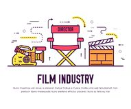 Premium quality cinema industry thin line design set. Filming minimalistic symbol infographic. Outline movie technology. Template of icon, typography, logo Royalty Free Stock Photography