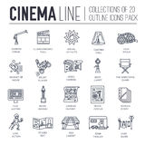 Premium quality cinema industry thin line design set. Filming minimalistic symbol pack. Outline movie technology. Template of icon, typography, logo, pictogram Royalty Free Stock Photography