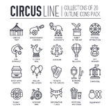 Premium quality circus outline icons collection set.  Festival linear symbol pack. Modern show template of thin line Stock Photography