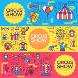 Premium quality circus outline icons infographic set. Festival linear symbol pack. Modern show template of thin line. Logo, symbols, pictogram and flat Stock Photo
