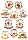 Premium quality coffee beverages symbols Stock Photo
