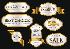 Premium quality collection golden labels design set luxury vector. Illustration Stock Images