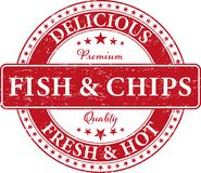 Premium quality delicious fresh and hot fish and chips food stam. RETRO OLD FISH AND CHIPS FOOD STAMP Royalty Free Stock Image