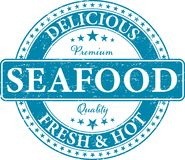 Premium quality delicious fresh and hot seafood food stamp. Blue RETRO OLD SEAFOOD STAMP Stock Photography