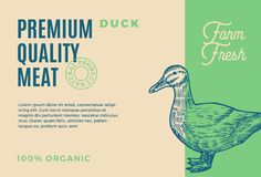 Premium Quality Duck Meat. Abstract Vector Meat Packaging Design or Label. Modern Typography and Hand Drawn Duck. Silhouette Sketch Background Layout stock illustration