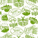 Premium quality eco vegan stamp logo product mark retro grunge badges vector seamless pattern background . Stock Photo