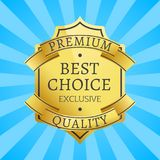 Premium Quality Exclusive Golden Label, Guarantee. Sign emblem logotype vector illustration on blue background with rays in flat style design, gold seal Stock Photo