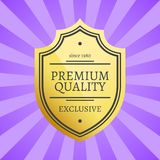 Premium Quality Since 1980 Exclusive Golden Label. Guarantee sign emblem logotype vector illustration on purple background with rays in flat style Royalty Free Stock Image