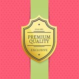 Premium Quality Since 1980 Exclusive Golden Label. Guarantee sign emblem vector illustration on pink background at green ribbon certificate design Stock Photos