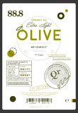 Premium quality extra virgin olive oil label. Layout of food identity branding, modern packaging design. Healthy traditional product, organic vegetarian royalty free illustration