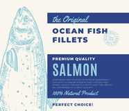Premium Quality Fish Fillets. Abstract Vector Fish Packaging Design or Label. Modern Typography and Hand Drawn Salmon. Silhouette Background Layout Stock Photos